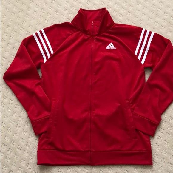 Boys Red Adidas Jacket Size Large 416
